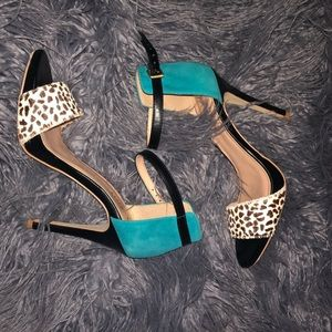 Sole Society Teal and Leopard Heels